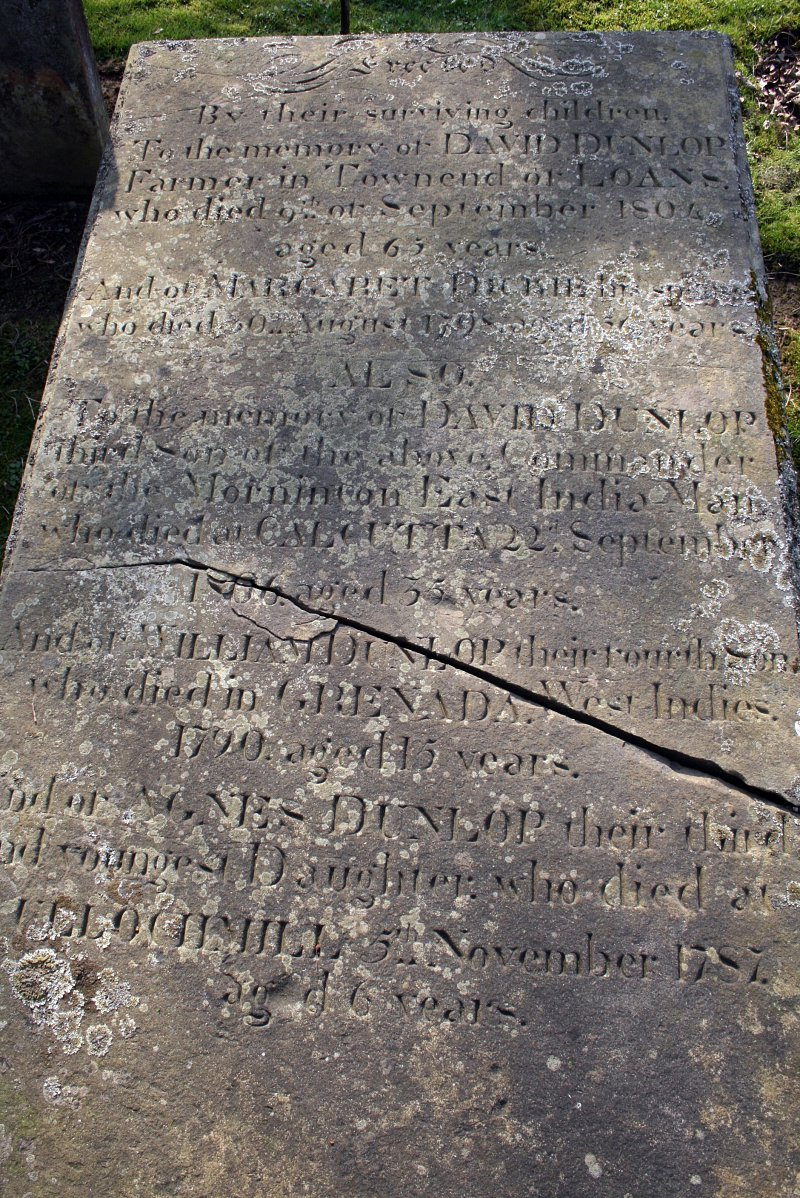 Dunlop gravestone with incscription in Troon.
